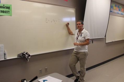 Mrs. Skousen teaching her second hour math class.